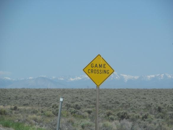 Game Crossing Sign on Highway 20 in Idaho