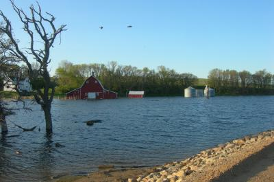 Flooded farm property in South Dakota