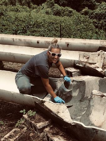 Biologist conducting fieldwork in Puerto Rico