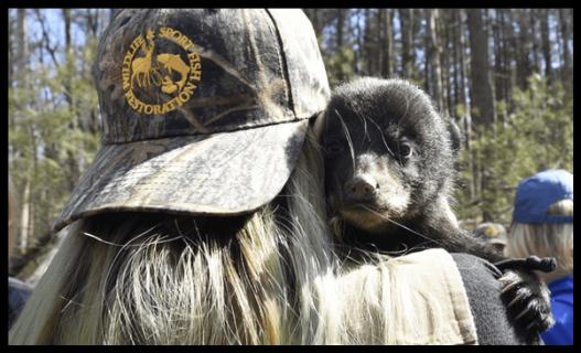 WSFR staff with bear cub