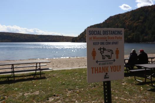 Social distancing sign at Wisconsin park