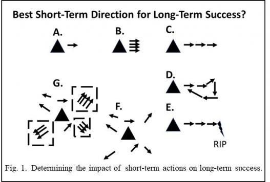Diagram showing impact of short term actions on long term success