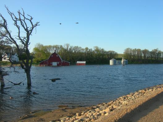 Flooded farm property in South Dakota