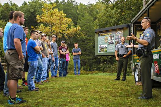 Missouri DOC law enforcement staff engaging students