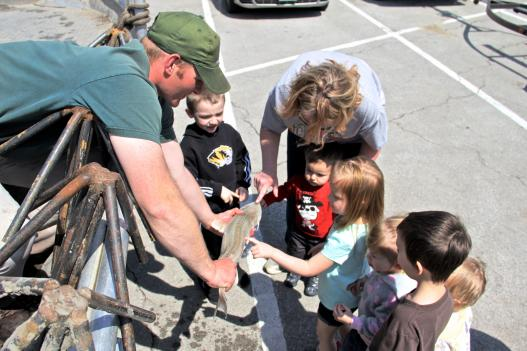 Missouri Department of Conservation staff displays a pallid sturgeon to a group of children